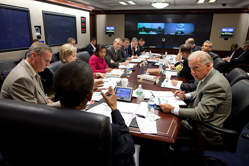 Barack Obama attends a briefing on Afghanistan in the Situation Room of the White House
