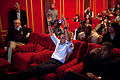 Barack Obama watching the 2009 Superbowl in the WH theater.jpg