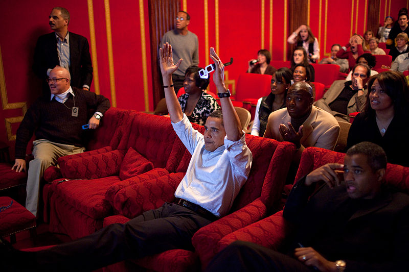 File:Barack Obama watching the 2009 Superbowl in the WH theater.jpg