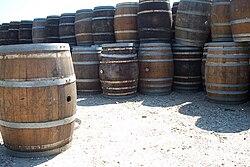 Traditional wooden barrels in Cutchogue