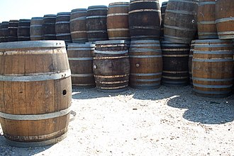 Stave (wood) - Wooden barrels made of multiple staves.