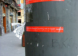 "Basque nationalism - ""You're in the Basque Country, not in Spain"" – an example of Basque nationalism in a Bilbao lamp post. The sticker includes the website address of Gazte Abertzaleak."
