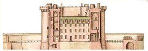 English: Profile of the Bastille, 1750