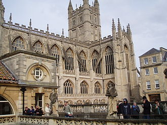 Buildings and architecture of Bath - Bath Abbey from the Roman Baths Gallery