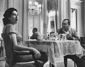 Marta Fernandez Miranda de Batista - At breakfast with Fulgencio Batista in the Presidential Palace, 1958.