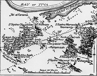 Battle of Katia - Map showing positions of the 5th Mounted Brigade on 23 April 1916