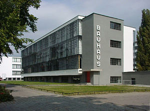 The Bauhaus Building in Dessau, Germany; image...