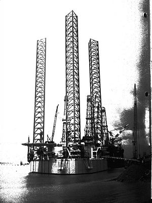 Peter Bawden - One of the first Bawden Drilling oil rigs in Calgary, Canada; circa 1955.