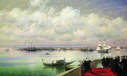 Byron's visit to San Lazzaro as depicted by Ivan Aivazovsky (1899) Bayron's visit to San Lazzaro by Aivazovsky (1899).jpg