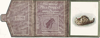 The Story of Miss Moppet - Wallet interior shows (left to right) the flap, title page, and first illustration