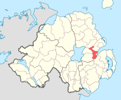 Location of Belfast Upper, County Antrim, Northern Ireland.