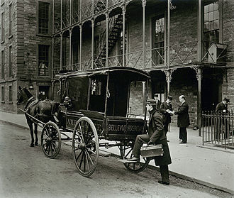The Alienist - Ambulance standing outside Bellevue, a psychiatric hospital, in New York City in 1895