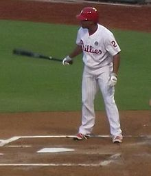 Ben Revere at the plate, swinging a black bat