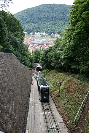 Heidelberger Bergbahn - A car on the lower section