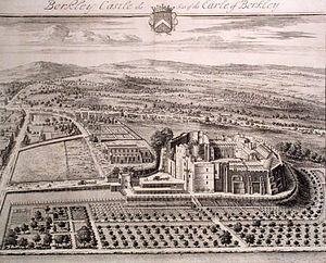Berkeley Castle - Jan Kip's aerial view of Berkeley Castle engraved for the antiquary Sir Robert Atkyns' The Ancient and Present State of Glostershire, 1712
