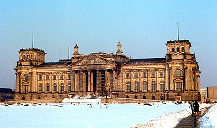Reichstag building in 1970, before reconstruction of the dome. Berlin - Reichstag 1970.jpg