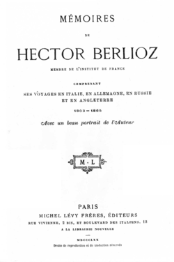 Image illustrative de l'article Mémoires de Hector Berlioz