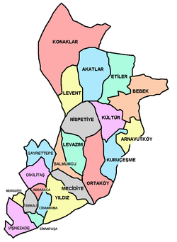 Neighborhoods of Beşiktaş district in Istanbul, Turkey.