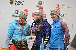 2017 IBU Open European Championships - Svetlana Sleptsova, Irina Starykh and Juliya Dzhyma at the winner's press conference after the women's sprint race