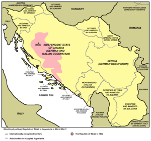 Bihać Republic - The Republic of Bihać within occupied Yugoslavia (pink). The borders are that of the World War II Axis partition of Yugoslavia, including collaborationist states.
