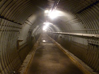 CFS Carp - The blast tunnel entrance. The doors to the actual bunker are perpendicular to this tunnel which reduces the effects of a nuclear shock wave.