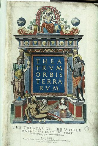 Theatrum Orbis Terrarum - Title page from a 1606 edition with female figures representing the continents