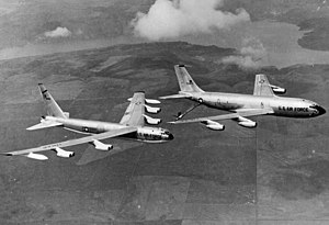 Glasgow Air Force Base - Strategic Air Command B-52D Stratofortress (AF Serial No. 56-0582) being refueled by a KC-135A Stratotanker (AF Serial No. 55-3127).