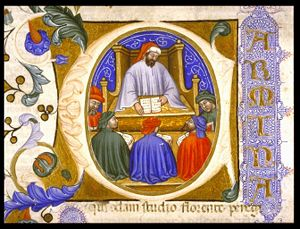 Boethius - Boethius teaching his students (initial in a 1385 Italian manuscript of the Consolation of Philosophy.)