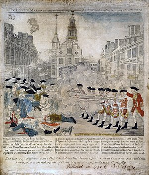Old State House (Boston) - This engraving by Paul Revere, portraying the Boston Massacre with a patriot's bias, shows the Old State House sitting prominently behind the action.
