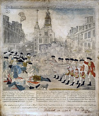 Boston Massacre - This famous depiction of the event was engraved by Paul Revere (copied from an engraving by Henry Pelham), colored by Christian Remick, and printed by Benjamin Edes. The Old State House is depicted in the background.