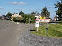 Bourg-Fidèle (Ardennes) city limit sign.JPG