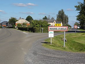 Bourg-Fidèle (Ardennes) city limit sign.JPG