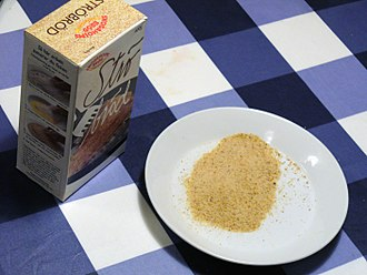 Bread crumbs - Breadcrumbs from a box on a plate