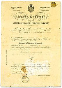 Il certificato di privativa ottenuto da Melegatti per il suo pandoro.