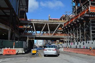 Brickell City Centre - Pedestrian bridge over South Miami Avenue during construction in early 2015.