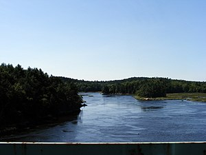 Back River (Kennebec River) - Back River as seen from the Route 127 bridge near Arrowsic