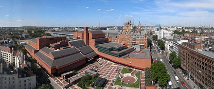 The British Library with St Pancras railway station behind it British Library + St Pancras 7527-31hug.jpg