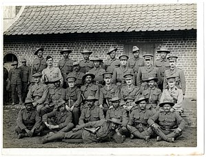 9 Gorkha Rifles - British and Indian officers 9th Gurkhas at their headquarters (Photo 24-59) in France. July 1915