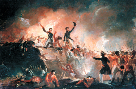 British forces attempted to storm Fort Erie on August 14, 1814 but were repelled by its American defenders. British taking of the Northeast Bastion during the night assault on Fort Erie, August 14, 1814.png