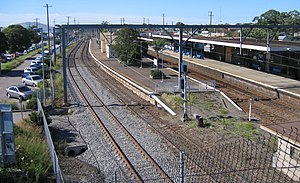 Broadmeadow railway station - Northbound view in May 2007