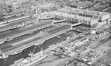 Black-and-white photograph of Brooklyn Army Base from above.