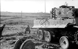 508th Heavy Panzer Battalion - Tiger of the 508th with a mobility problem, Italy, February 1944