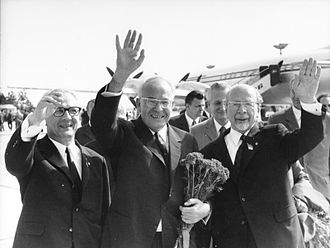 Gustáv Husák - Gustáv Husák (in the middle) in 1971 on a visit to the GDR. Walter Ulbricht and Erich Honecker are also pictured.