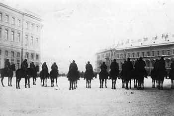 Urizky Square in front of the Winter Palace is cordoned off by the military