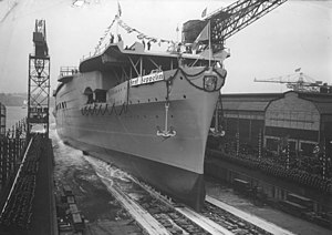 Graf Zeppelin-class aircraft carrier - The Graf Zeppelin is launched, 8 December 1938.