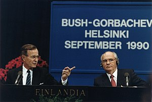 "1991 Soviet coup d'état attempt - George H.W. Bush, left, is seen with Mikhail Gorbachev in 1990. Bush condemned the coup and the actions of the ""Gang of Eight""."