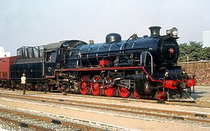 4-8-2 - CFB 11th Class 4-8-2 no. 401 at Lobito Station, Angola