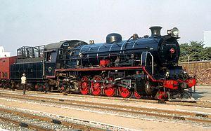 4-8-2 - CFB 11th Class 4-8-2 no. 401 at Lobito Station, Angola