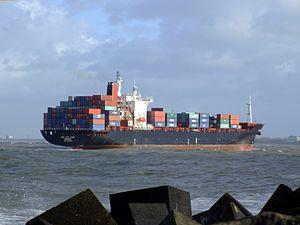 CMA CGM Elbe pA approaching Port of Rotterdam, Holland 21-Jan-2007.jpg