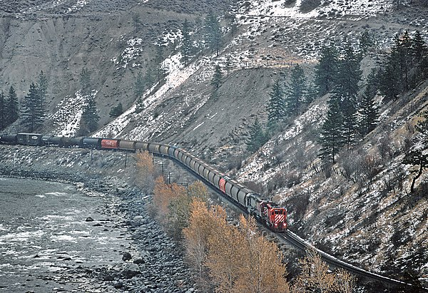 CP westbound at the same location, approximately mile 69 Thompson Sub east of Spences Bridge, BC, Canada in November 1984 (2) (29552105745)
